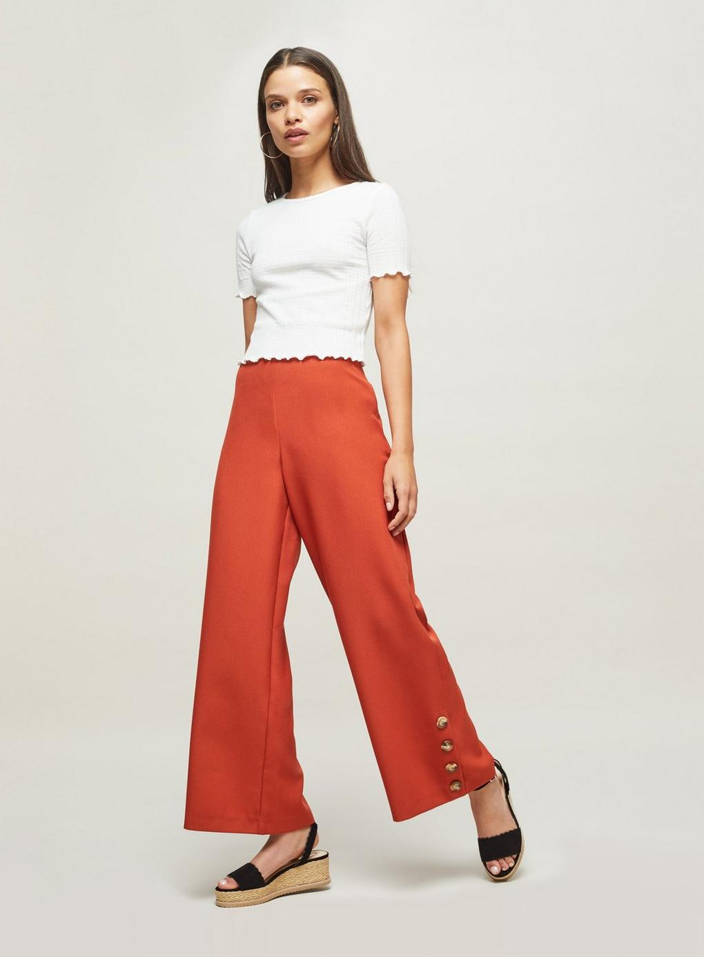 44a1fe9526246 Miss Selfridge Petite Rust Wide Leg Trousers in Red - Lyst