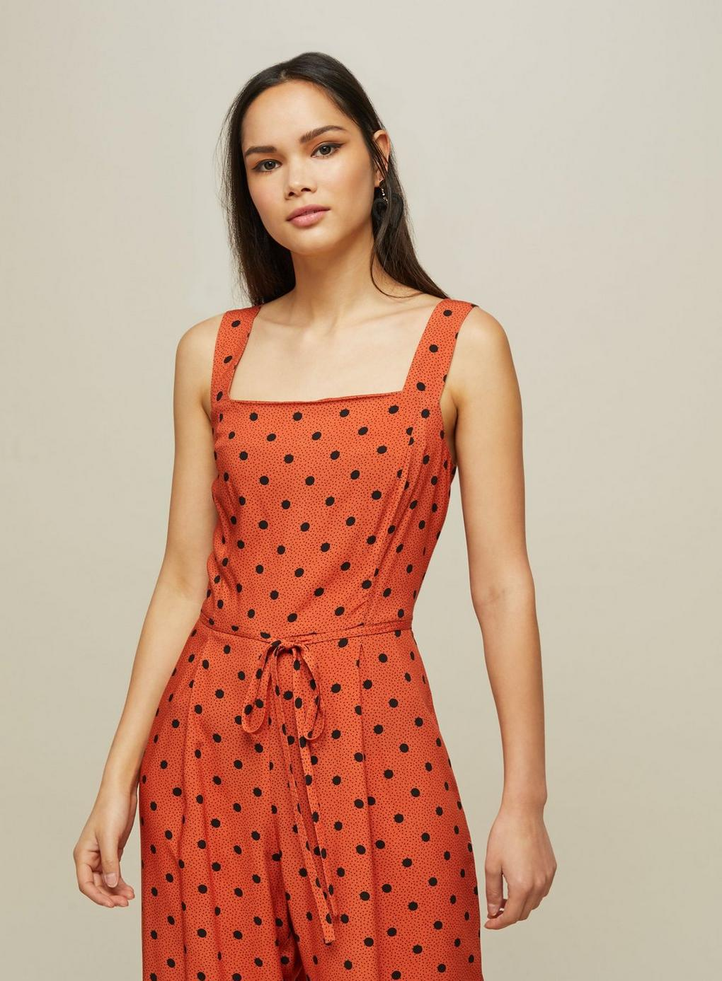 ed709e9e2970 Miss Selfridge Rust Spot Print Pinafore Jumpsuit in Red - Lyst