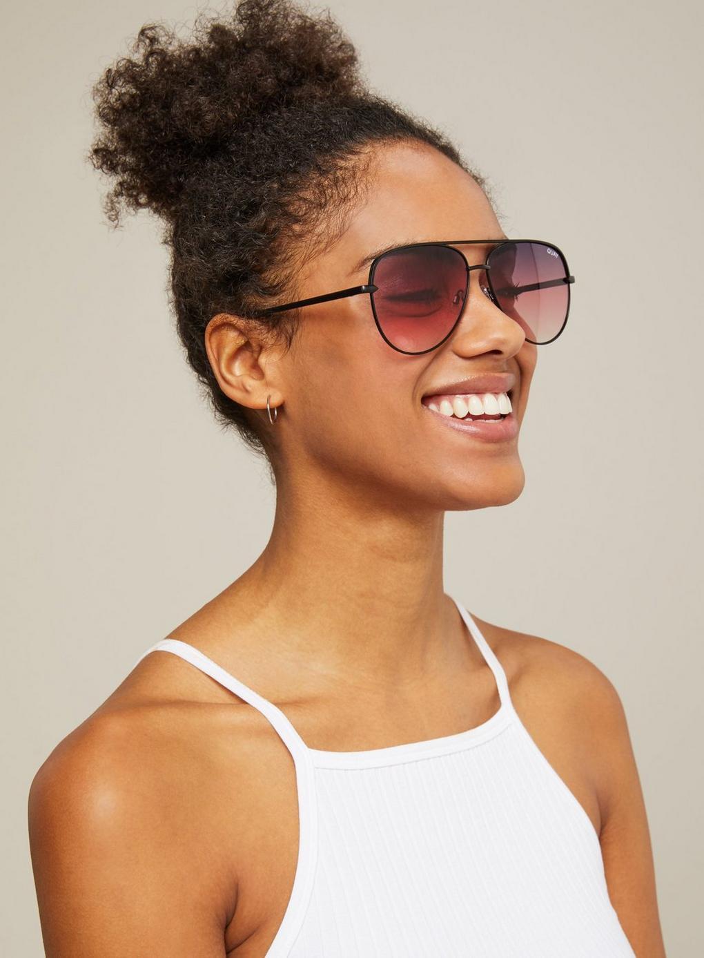 b403ca1603 Miss Selfridge. Women s Black Quay Australia Sahara Matte Gold plum Aviator  Sunglasses