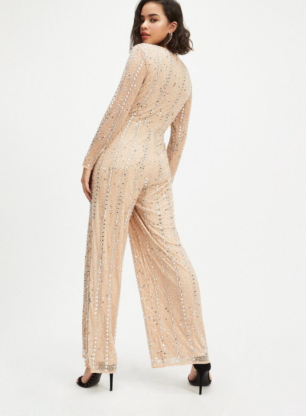 5a88f2cc8fd Miss Selfridge - Metallic Petite Silver Sequin Jumpsuit - Lyst. View  fullscreen