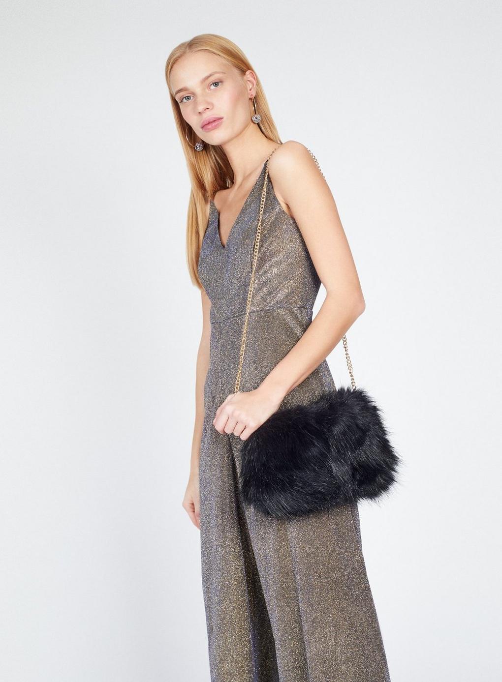 b2faa8e1339f Lyst - Miss Selfridge Black Faux Fur Cross Body Bag in Black