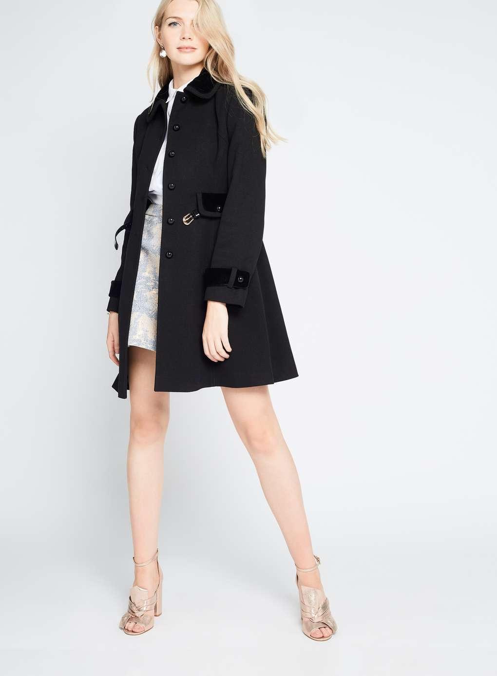 Lyst Miss Selfridge Black Velvet Trim Coat In Black