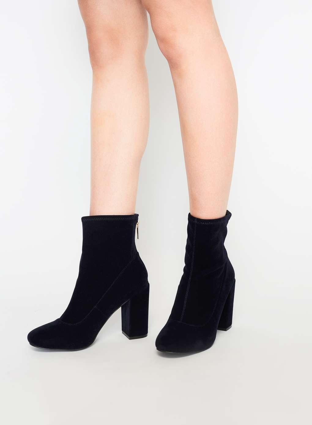 sock boots miss selfridge miss selfridge alanis velvet sock boots in blue lyst