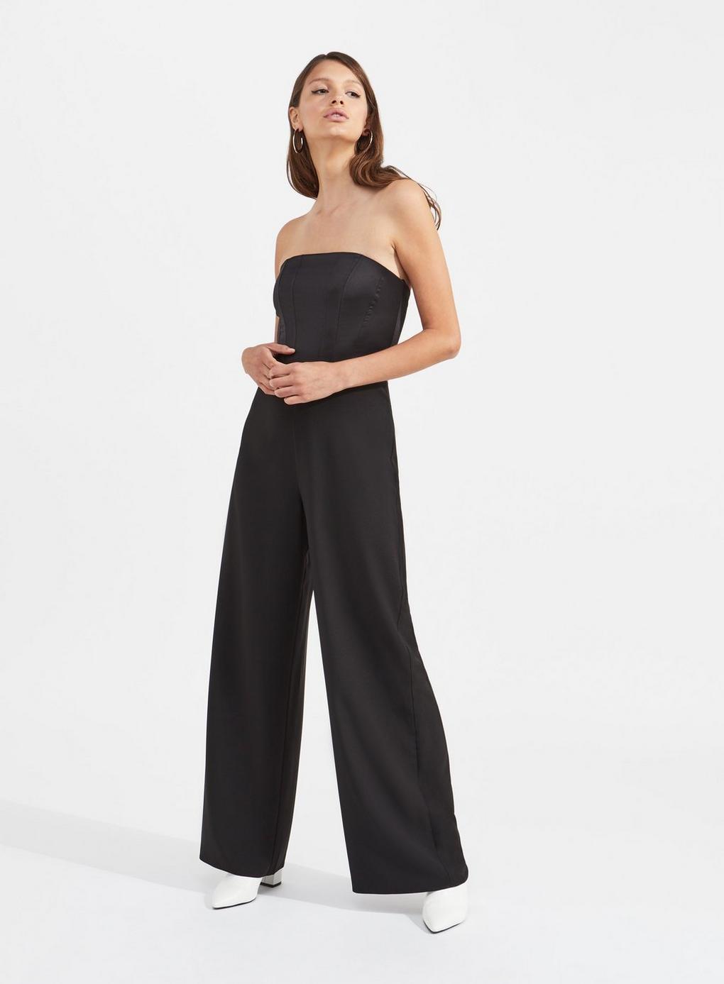 9c49bab17f2 Lyst - Miss Selfridge Black Bandeau Boned Jumpsuit in Black