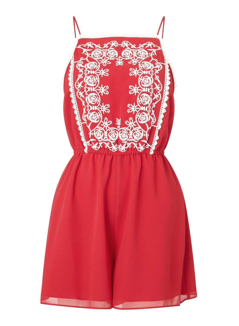 fc5afd4a27d Lyst - Miss Selfridge Petite Embroidered Playsuit in Red