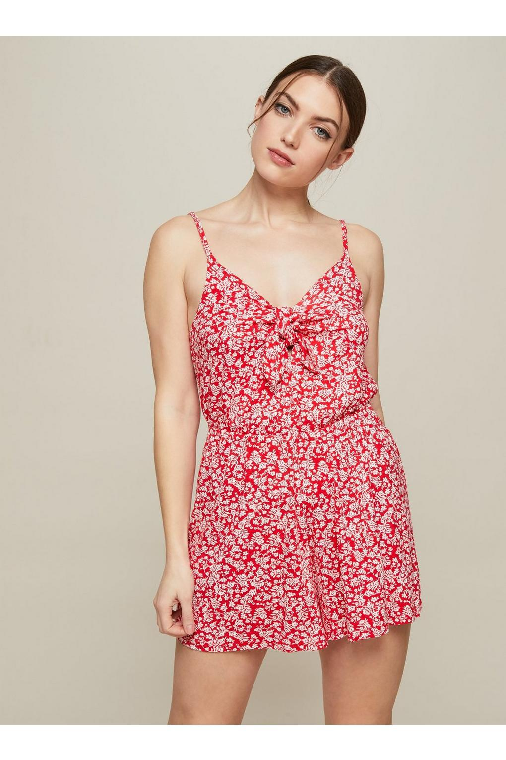 9966d13d376 Lyst - Miss Selfridge Red Printed Tie Front Playsuit in Red