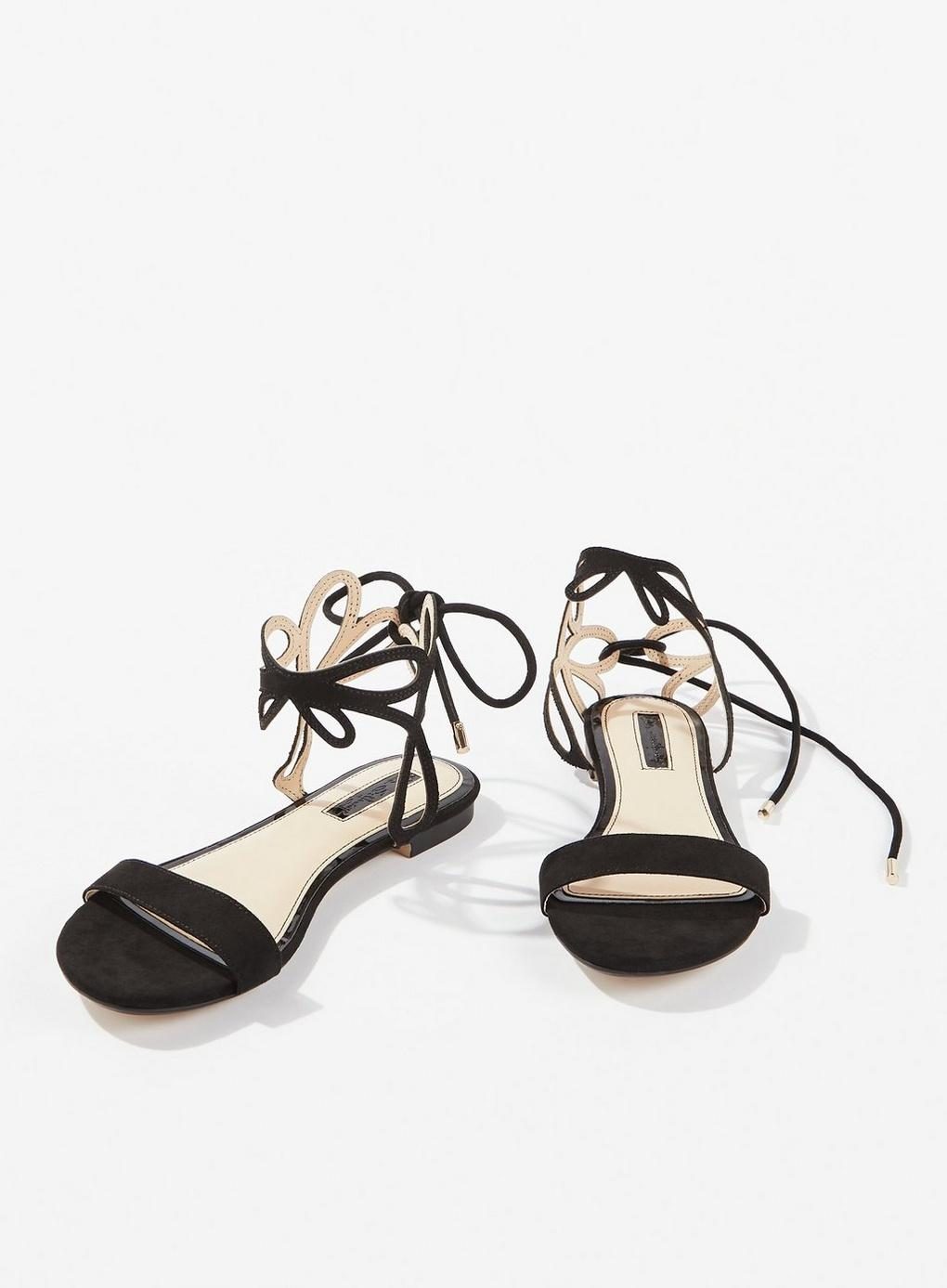 5c29935253ea Miss Selfridge - Flat Sandals With Ankle Detail In Black - Lyst. View  fullscreen