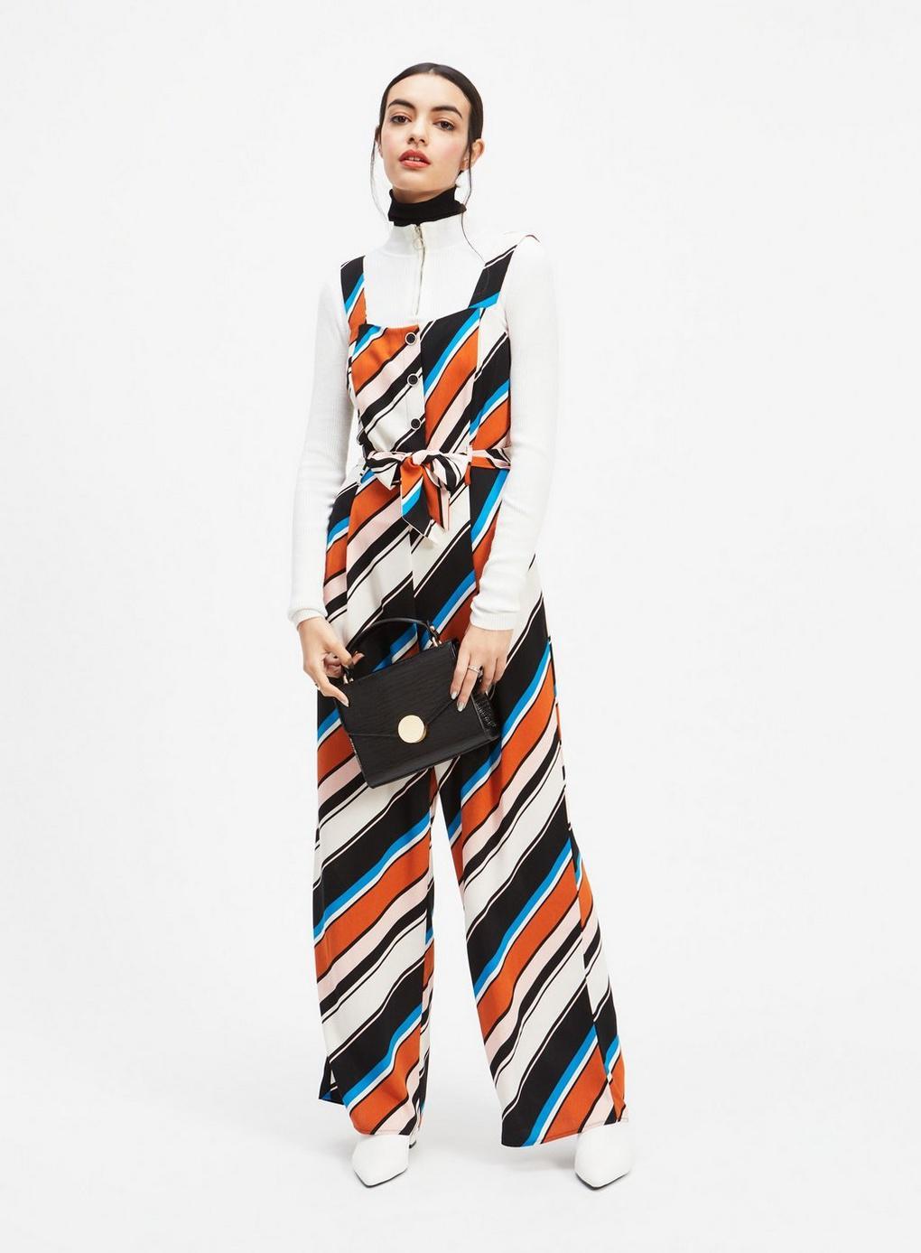 bbec219b95b Miss Selfridge Multi Stripe Button Jumpsuit in White - Lyst