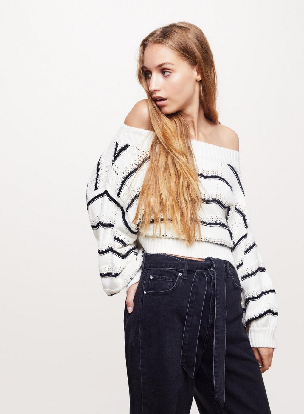 In Jumper Striped Knitted Selfridge Lyst Bardot Miss White Pointelle EYwfnp0q