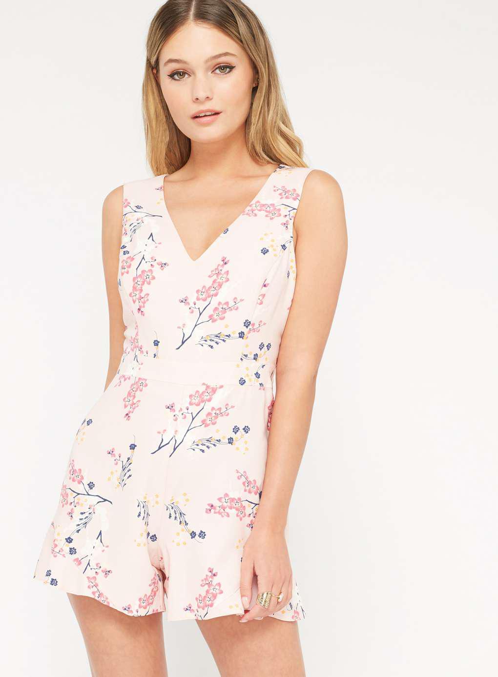 7172c7c4cf5b Lyst - Miss Selfridge Petite Floral Print Ruffle Playsuit in Pink