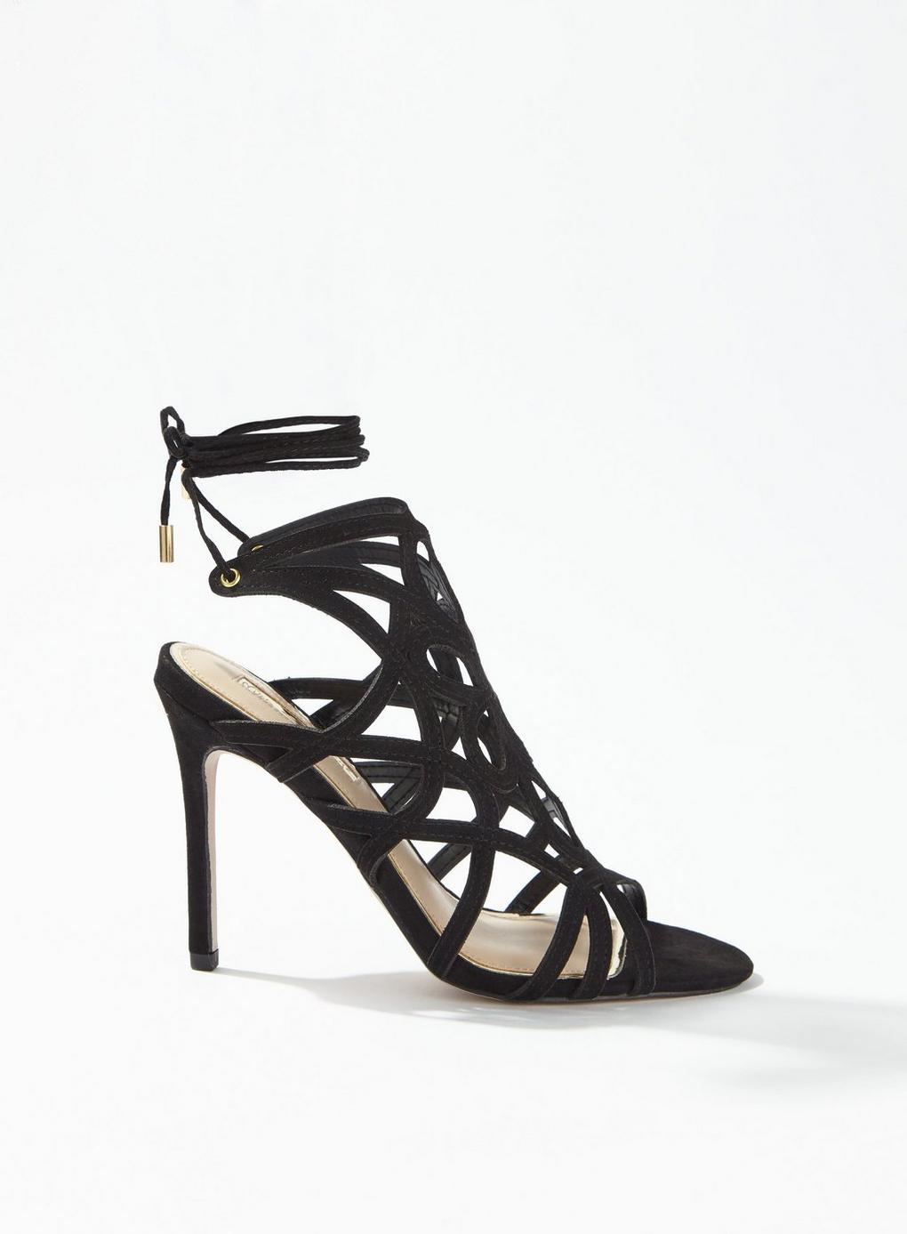 d9914e5d42ef4 Lyst - Miss Selfridge Black Hun Caged Stiletto Heel Sandals in Black