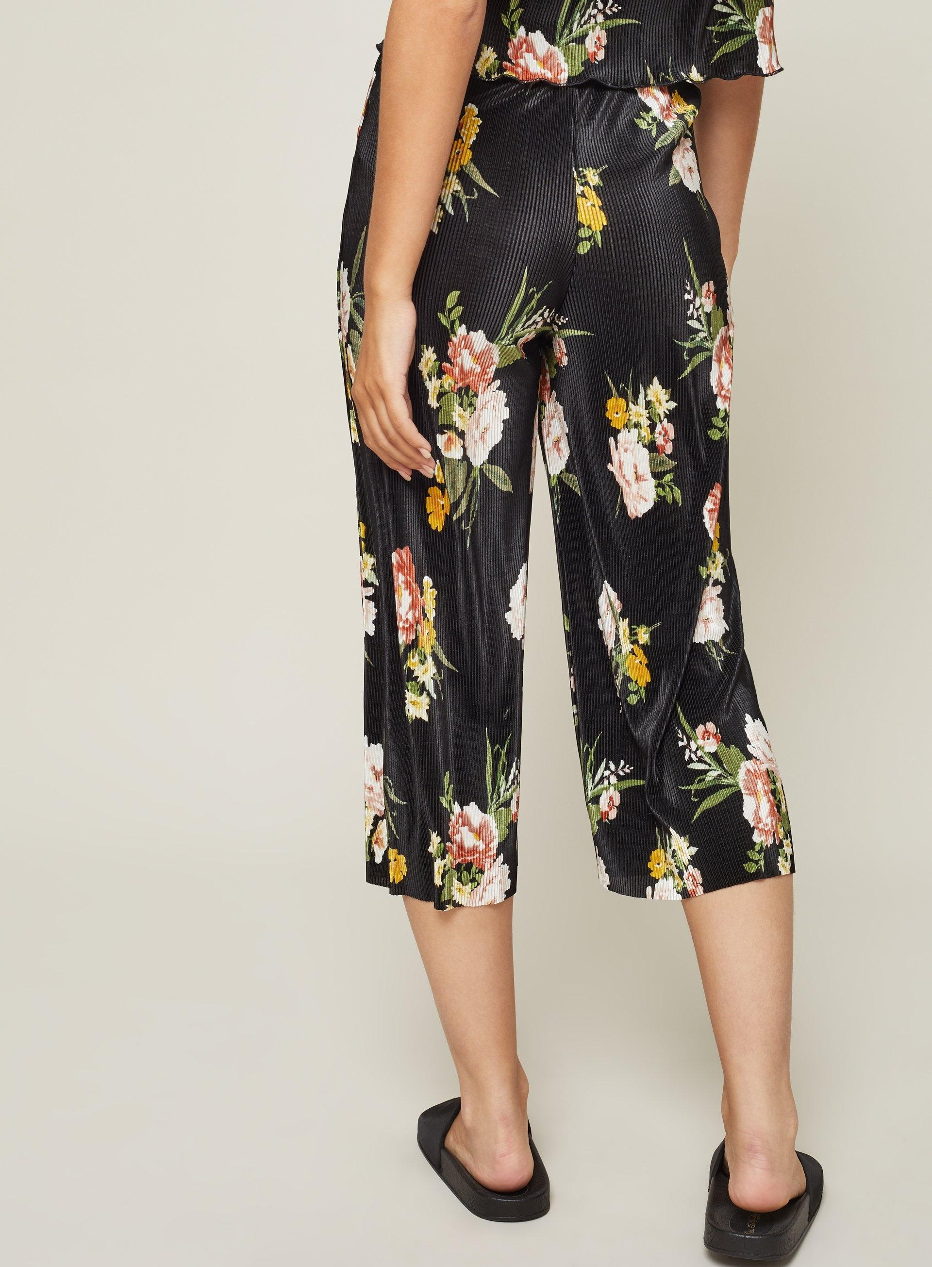e85e15a0fe6f Miss Selfridge Petite Floral Print Plisse Culotte Trousers in Black ...