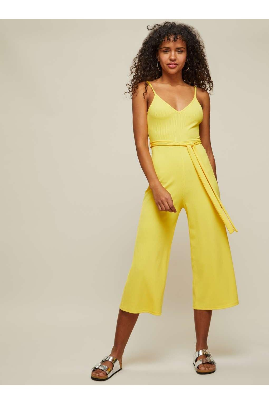 2d5ef352cb Miss Selfridge Yellow Ribbed Culotte Jumpsuit in Yellow - Lyst
