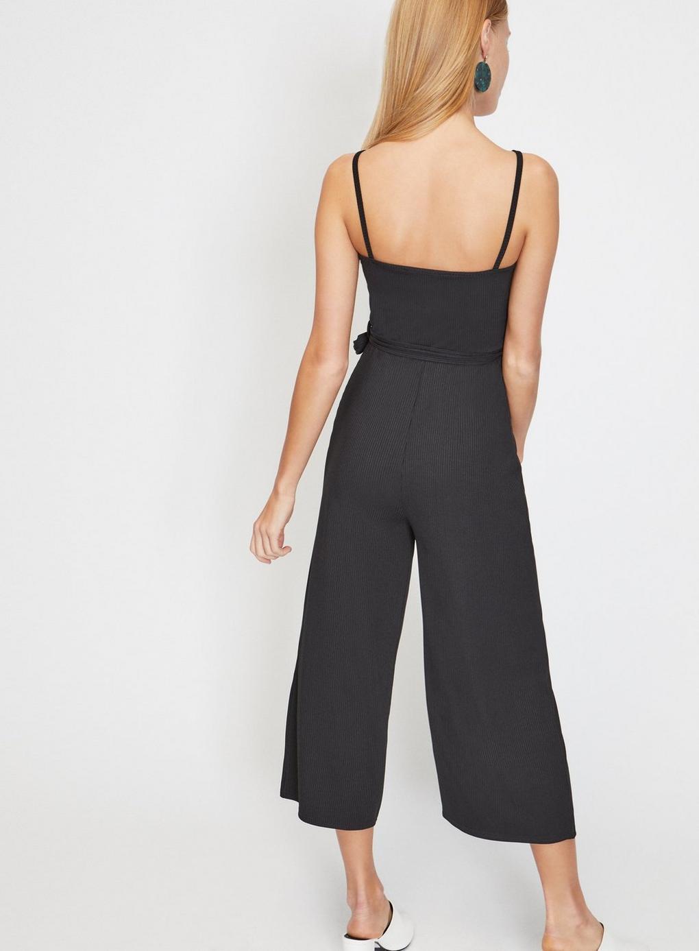 6f6b9f9f456 Miss Selfridge - Black Wrap Front Ribbed Culottes Jumpsuit - Lyst. View  fullscreen