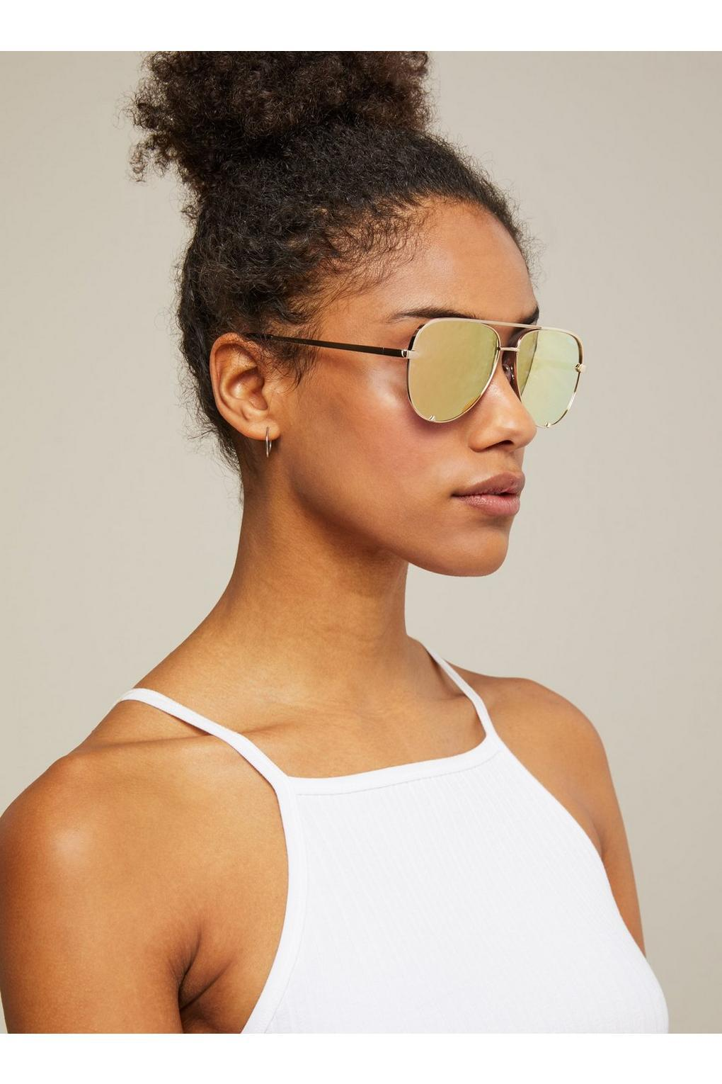 7afb2c38d7 Miss Selfridge. Women s Metallic Quay Australia High Key Mini Gold Aviator  Sunglasses