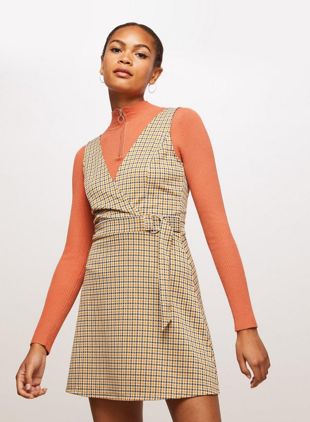select for best 2018 shoes cost charm Miss Selfridge Synthetic Ochre D-ring Checked Pinafore Dress ...