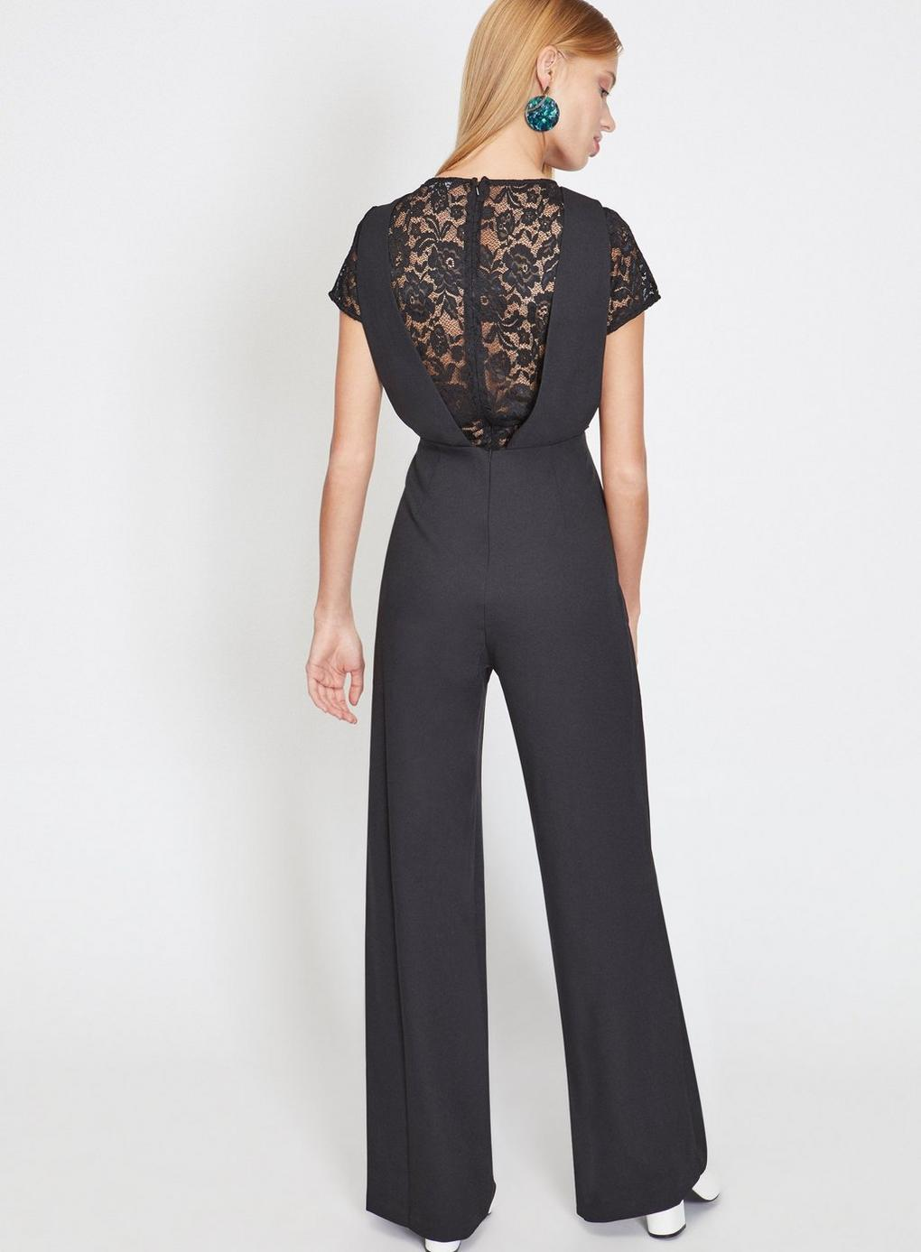 53d43ceed3b Miss Selfridge Black 2-in-1 Lace Jumpsuit in Black - Lyst