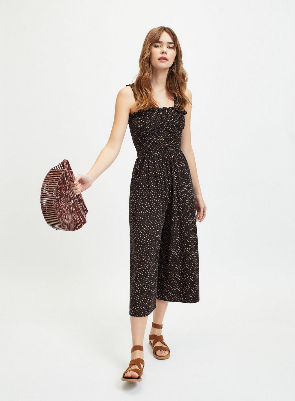 de89f5ac90a7 Lyst - Miss Selfridge Black Spot Print Shirred Pinny Jumpsuit in Black