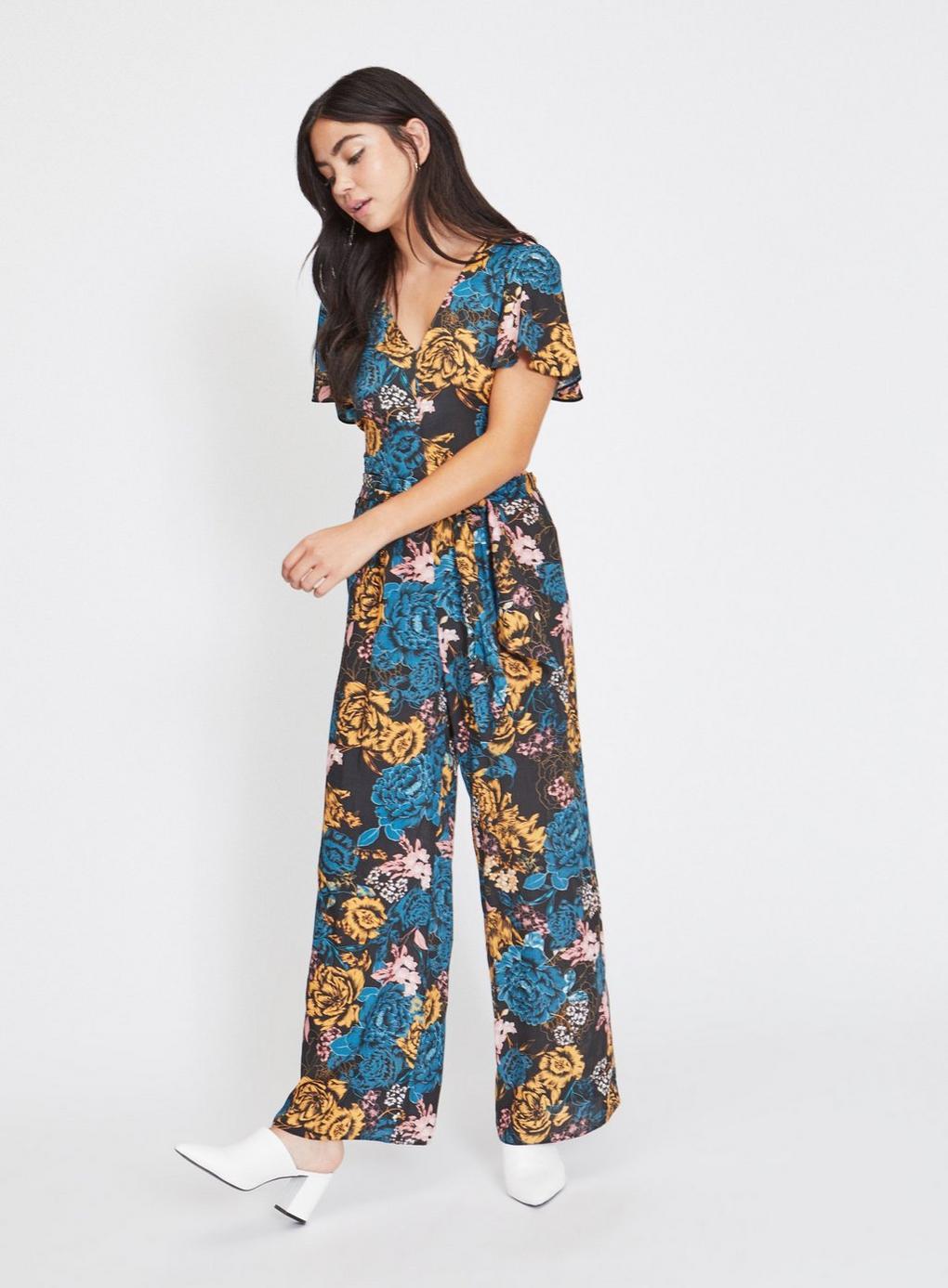 536f3e356e4 Miss Selfridge Petite Black Floral Jumpsuit in Black - Lyst