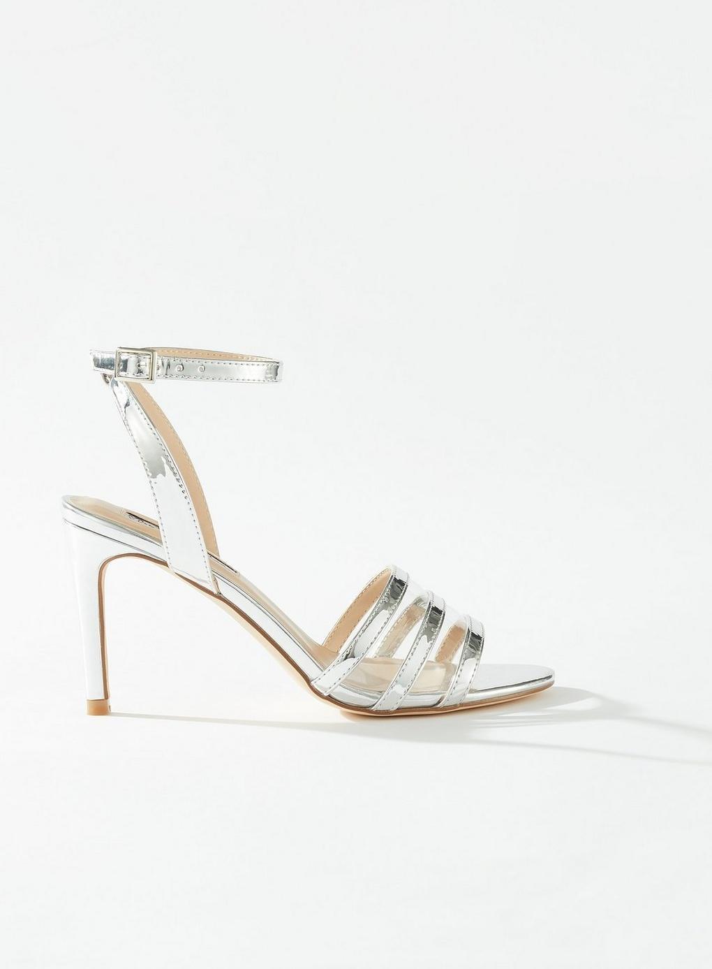 73e30c51ad6c Miss Selfridge Sentara Silver Perspex Heel Sandals in Metallic - Lyst