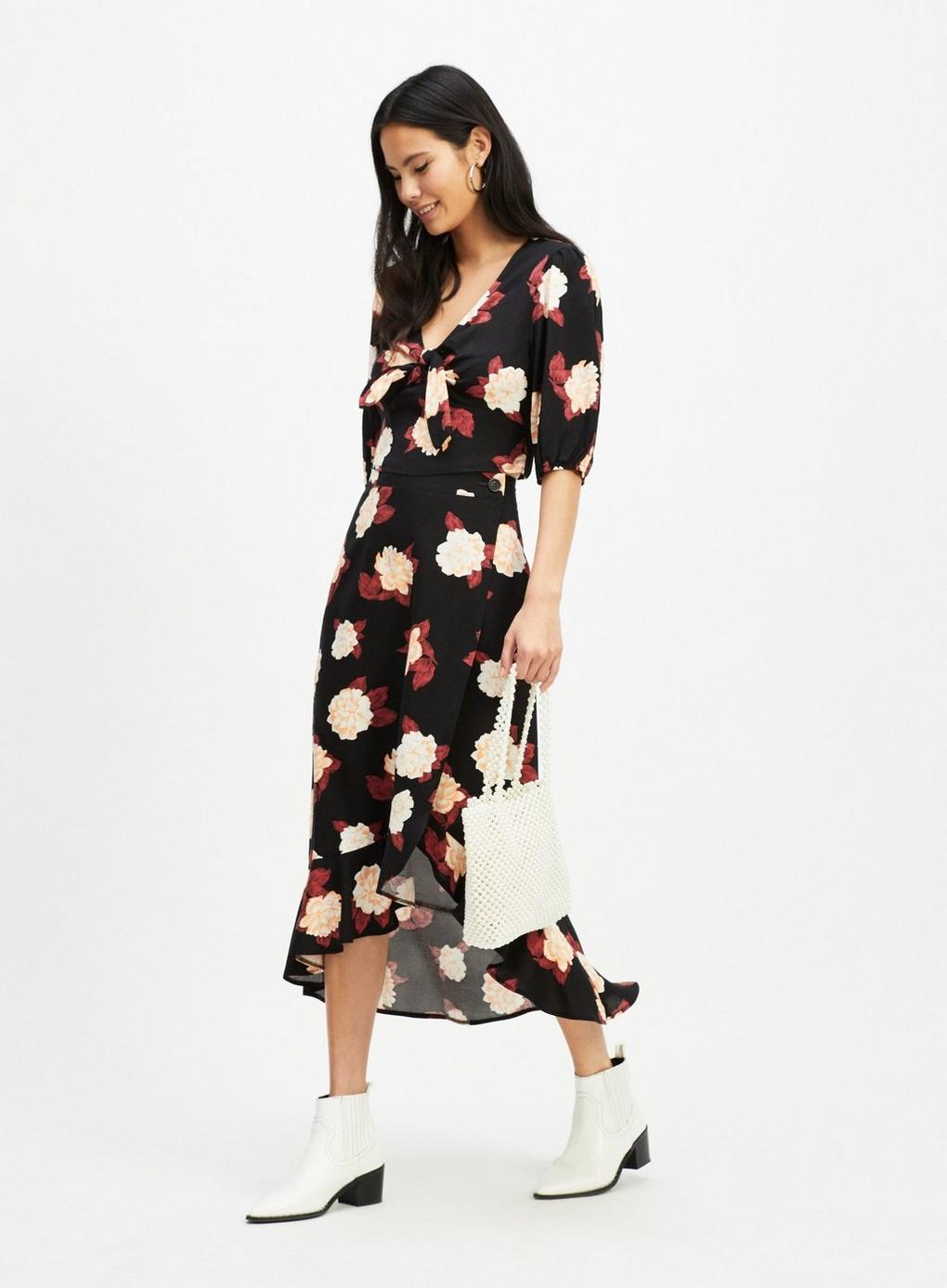 40ee5f2b31 Miss Selfridge Black Floral Wrap Midi Skirt – DACC