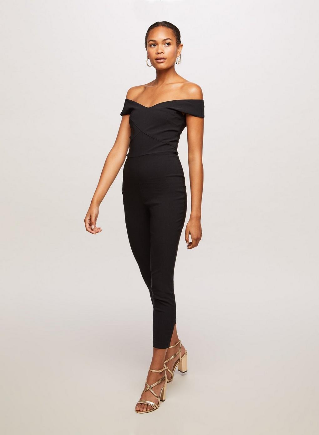 69830758cbe Miss Selfridge Black Bengaline Jumpsuit in Black - Lyst