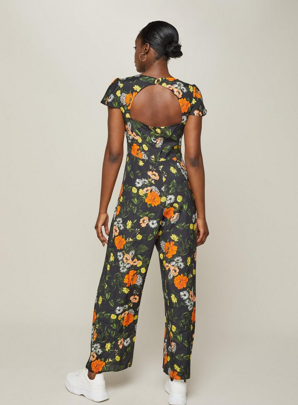 209f0880a6d Miss Selfridge - Black Floral Cape Jumpsuit - Lyst. View fullscreen