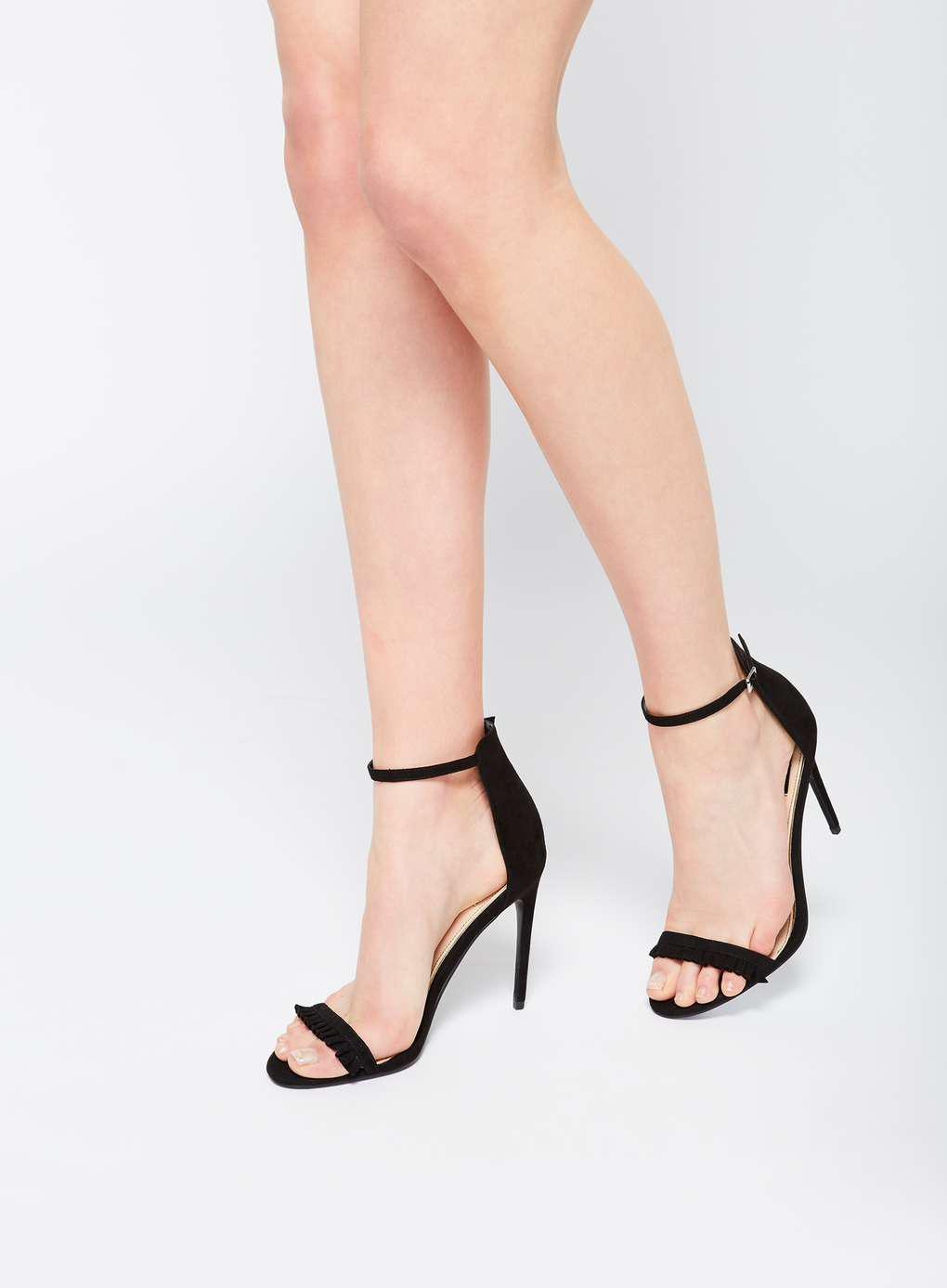 9e9855dc3892 Miss Selfridge Ciao Frill Barely There Sandals in Black - Lyst
