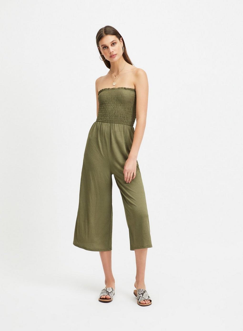 a21acb83345 Miss Selfridge Khaki Shirred Bandeau Wide Leg Jumpsuit in Green - Lyst