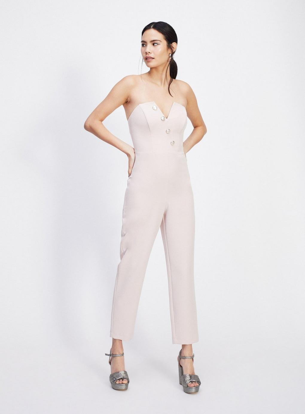 b83684329c3 Miss Selfridge Nude Bandeau Pearl Jumpsuit in Natural - Lyst