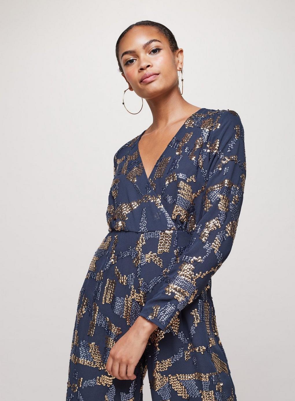5fda62b5a19 Miss Selfridge - Blue Sequin Culottes Jumpsuit - Lyst. View fullscreen
