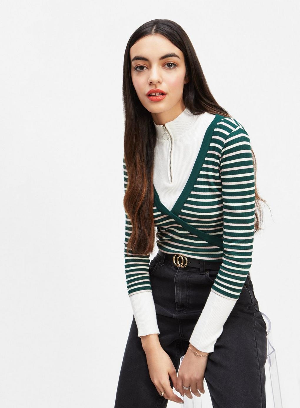 8919f44ee86b5 Lyst - Miss Selfridge Green And White Long Sleeve Stripe Wrap Top in ...