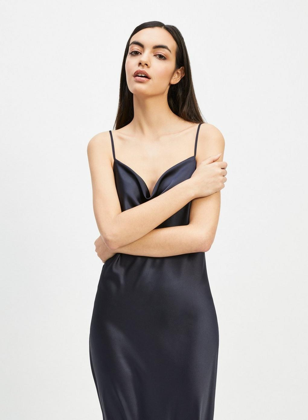 0415037deac Miss Selfridge - Blue Navy Cowl Neck Slip Dress - Lyst. View fullscreen