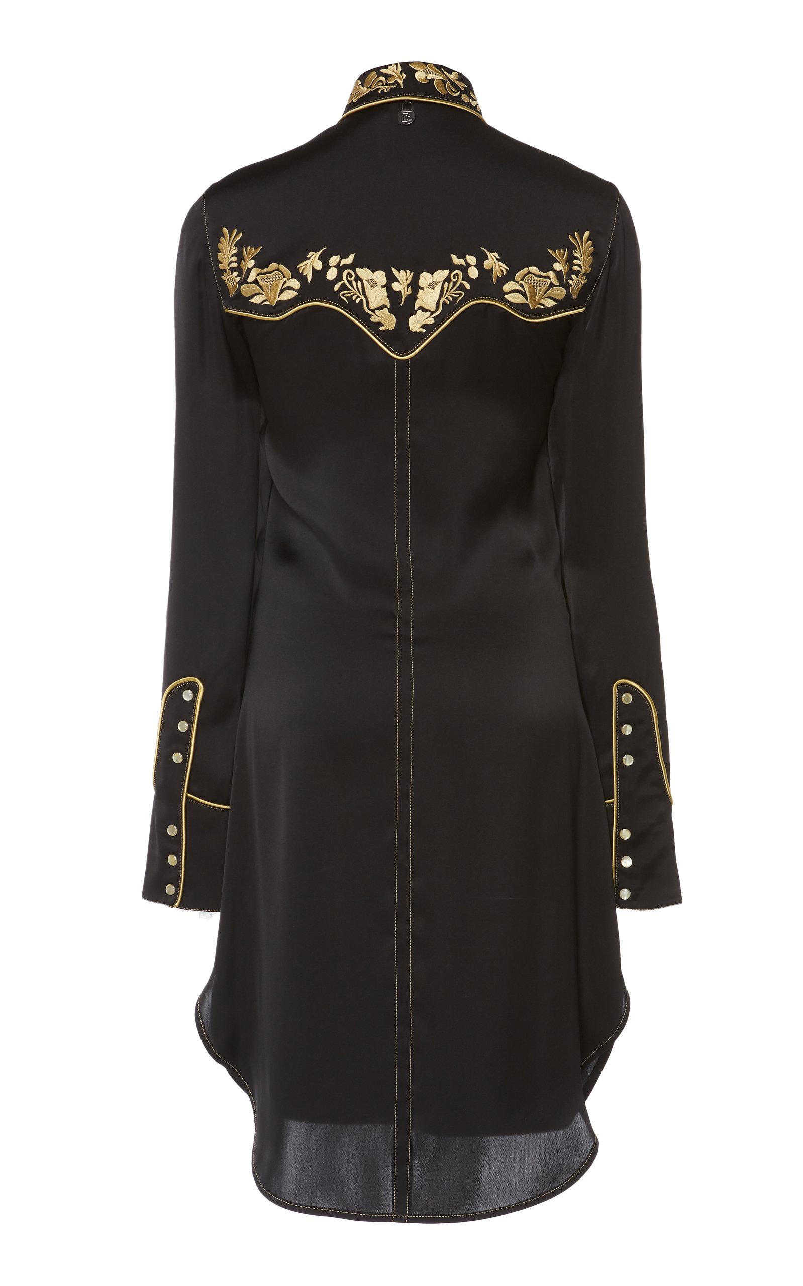 ed09a0c3 Paco Rabanne - Black Embroidered Satin Collared Shirt - Lyst. View  fullscreen