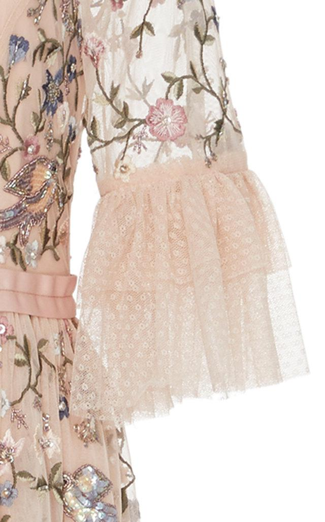 6ce6aaa99452 Lyst - Needle & Thread Dusk Floral Embroidered Gown in Pink