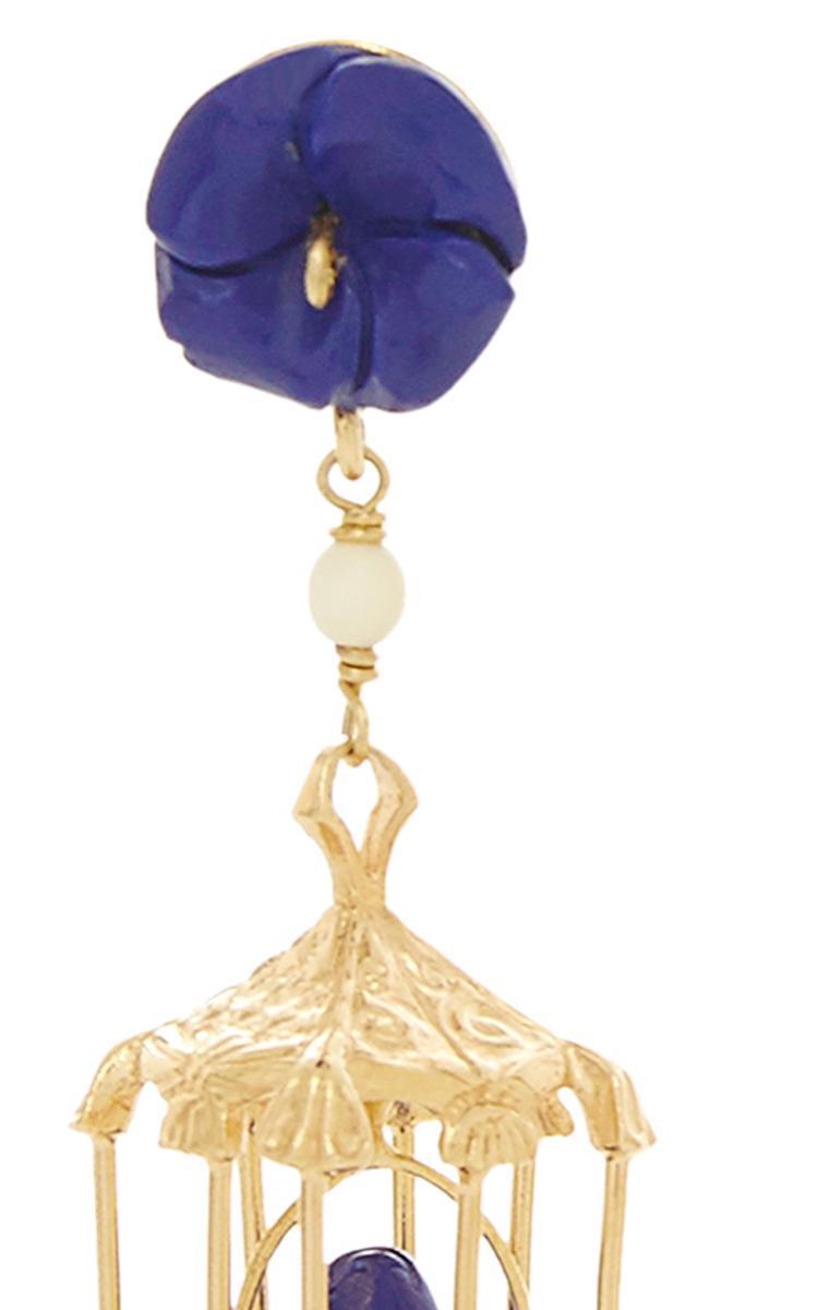 Pagoda 18k Lapislázuli Color Amarillo Oro Vermeil Y Ágata Pendientes Blancos De Origen Rara IMPK7