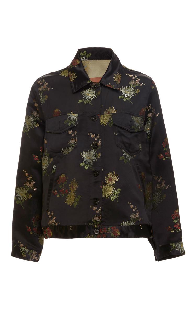 Cynthia rowley silk embroidered jean jacket in multicolor