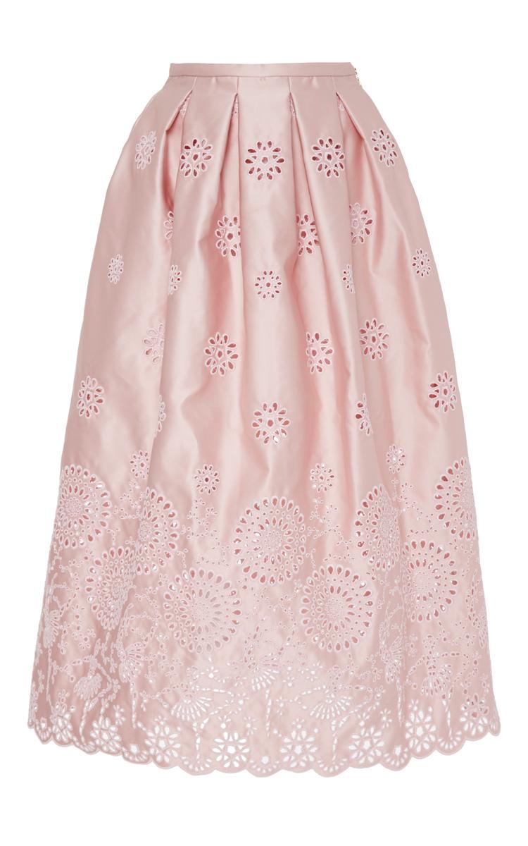 rochas floral eyelet midi skirt in pink lyst