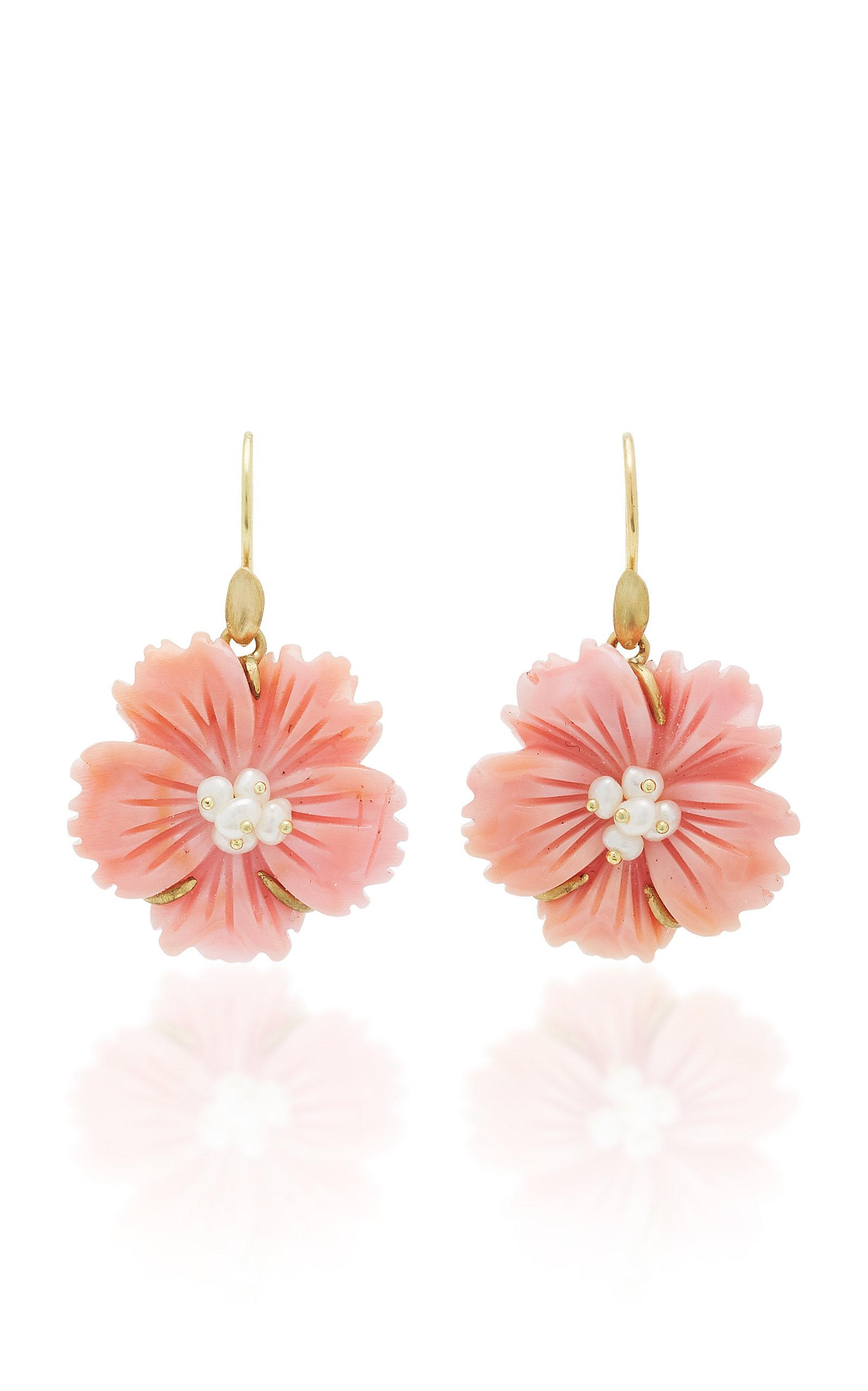 18K Gold Pearl and Conch Shell Earrings Annette Ferdinandsen WQncywm