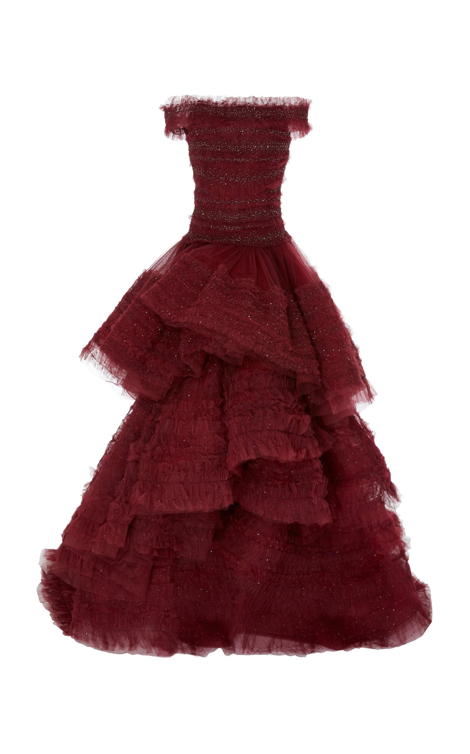 422b3c8b Lyst - Marchesa Off-the-shoulder Ruffled Organza Gown in Red