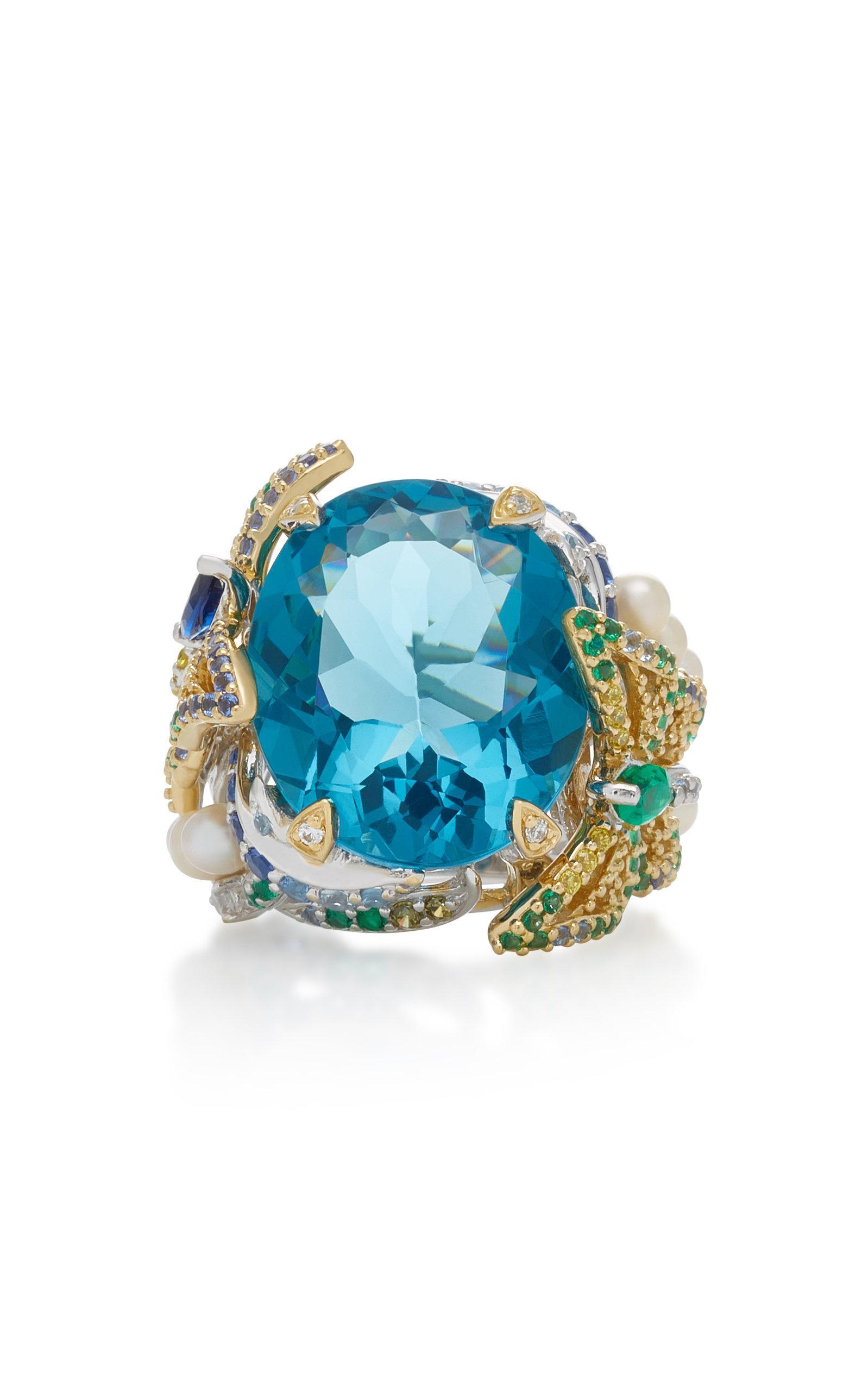 Aquamarine Lilac 18K Gold Vermeil Multi-Stone Ring Anabela Chan rGXz9U