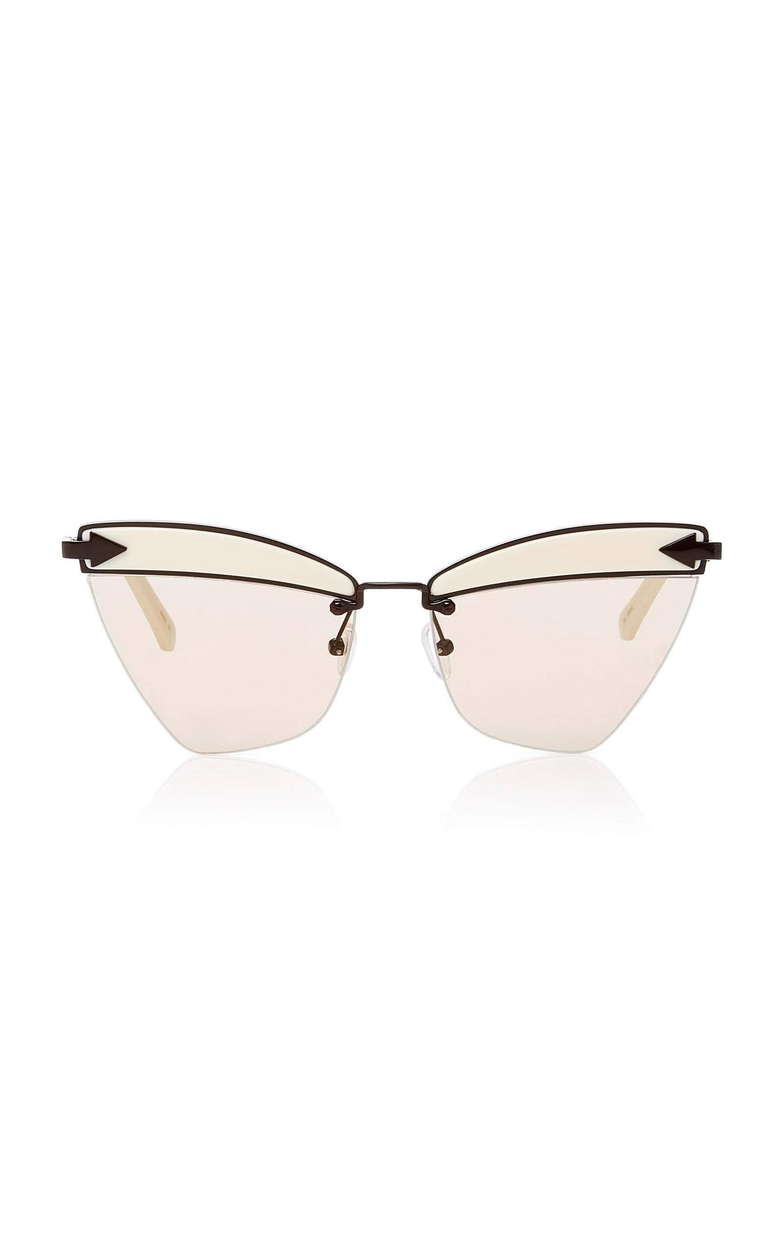 d1c8c2e2114 Lyst - Karen Walker Sadie Cat-eye Acetate And Metal Sunglasses in White