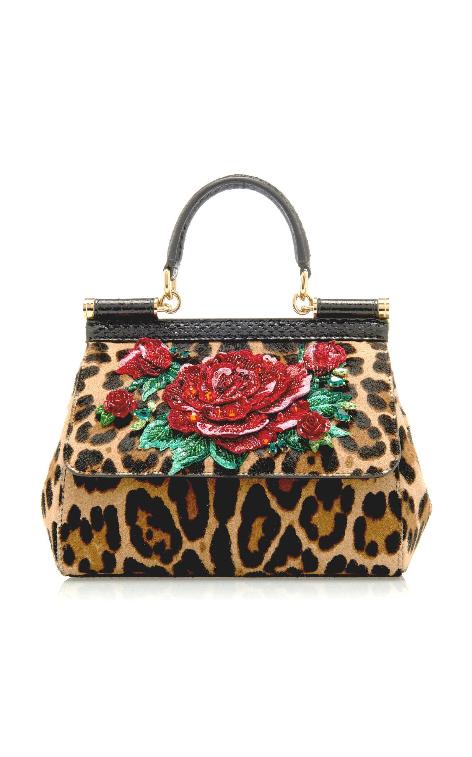ec8748dea4ca Dolce   Gabbana. Women s Sicily Embellished Leopard-print Pony Hair Bag
