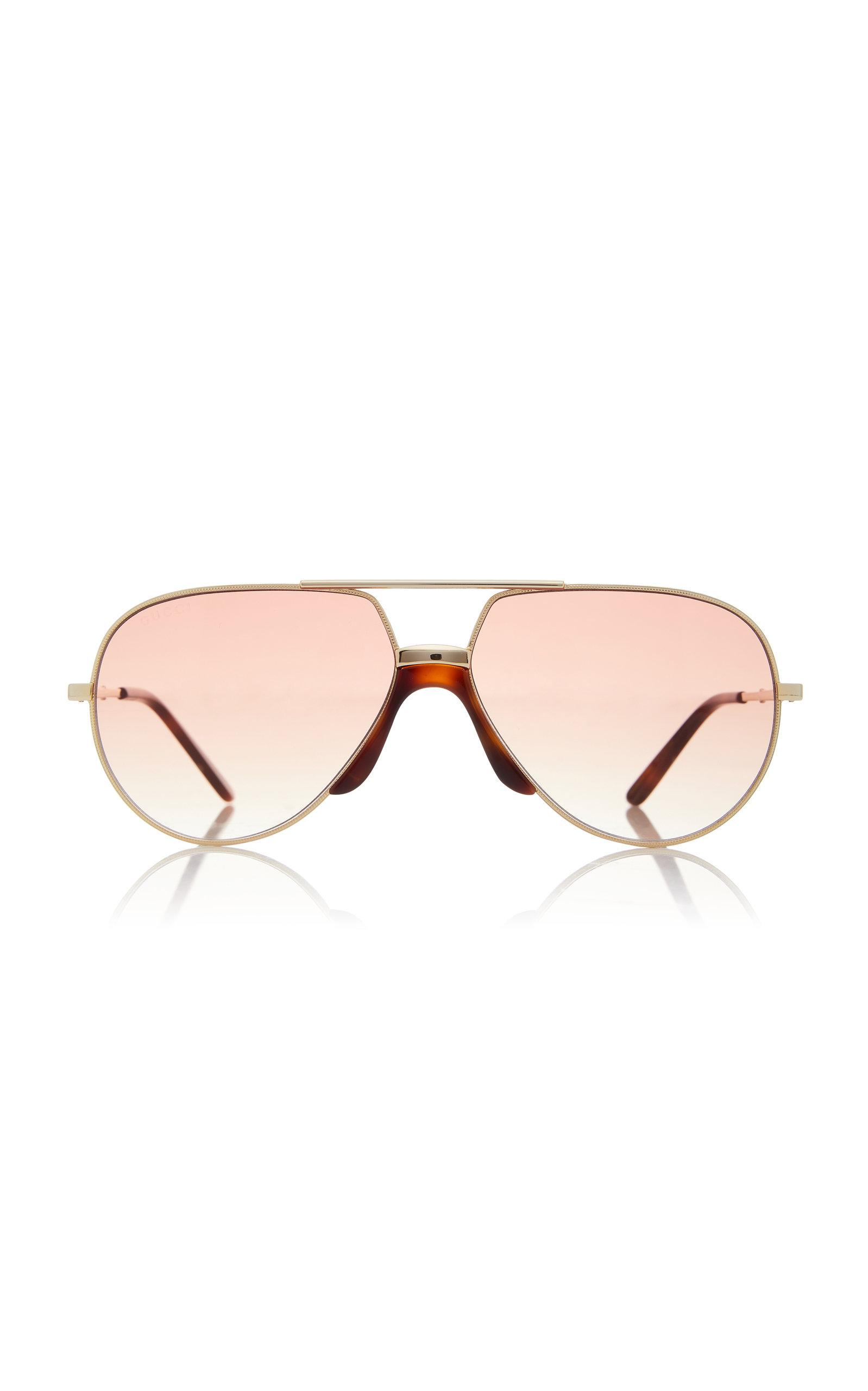3f8add2f03f02 Lyst - Gucci Oversized Metal Aviator Sunglasses in Metallic for Men