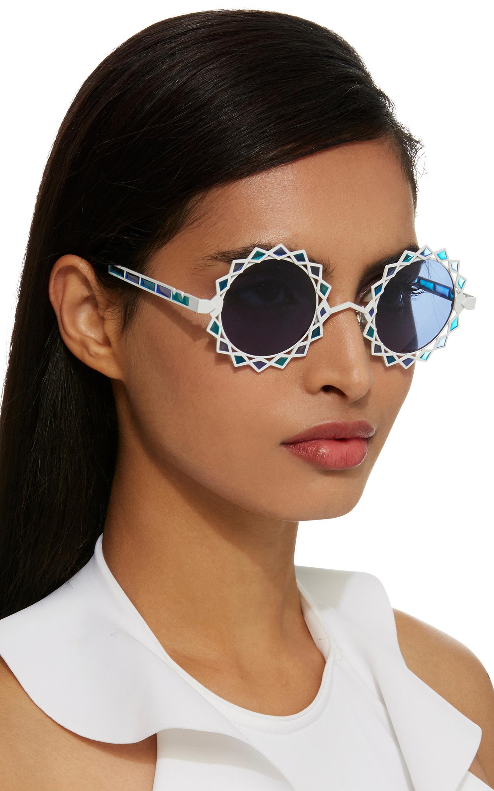 Lyst - Pared Eyewear Moon & Stars Acetate Round-frame Sunglasses in Blue