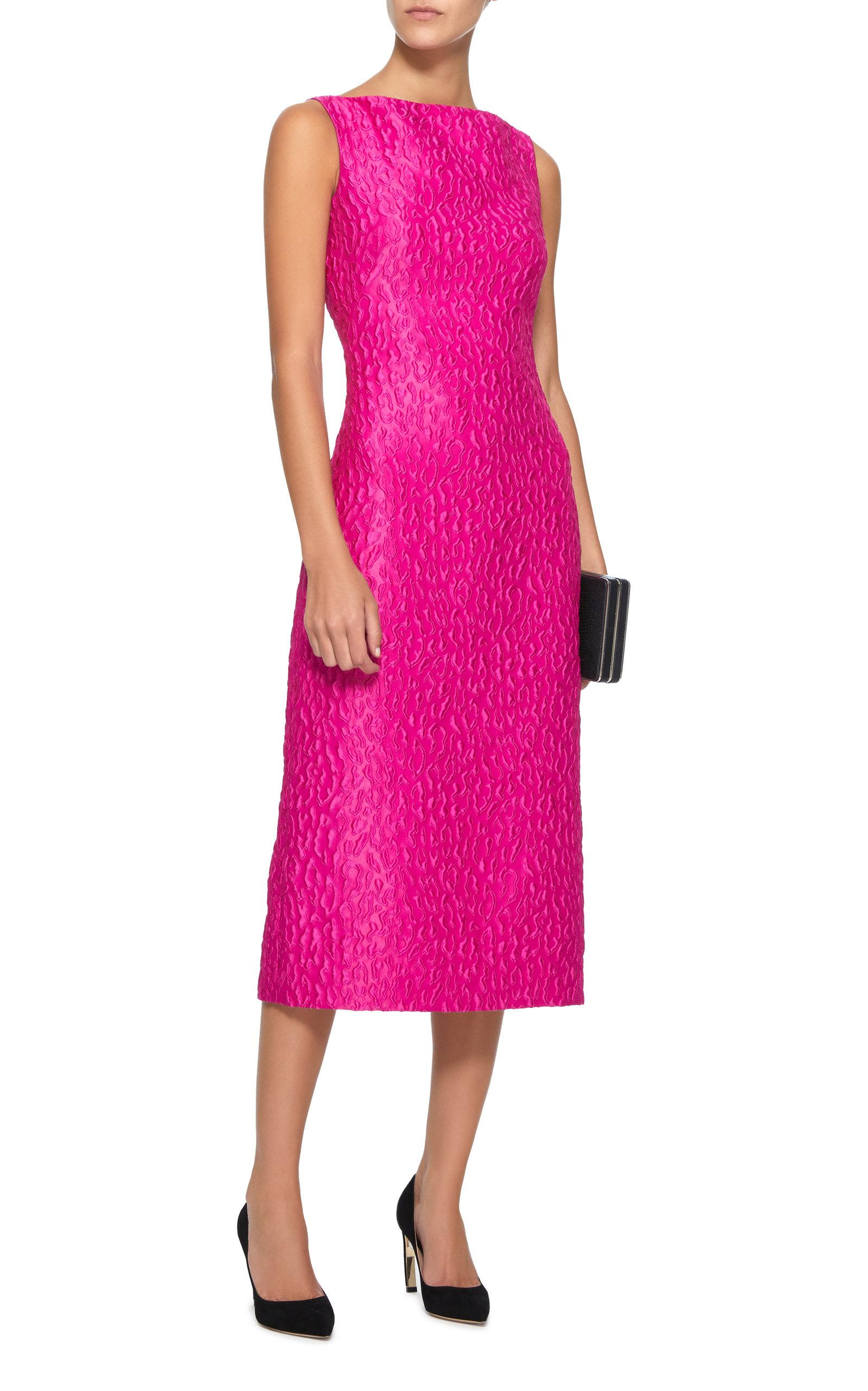 147b5f3be2c Brandon Maxwell - Pink Satin-jacquard Midi Dress - Lyst. View fullscreen