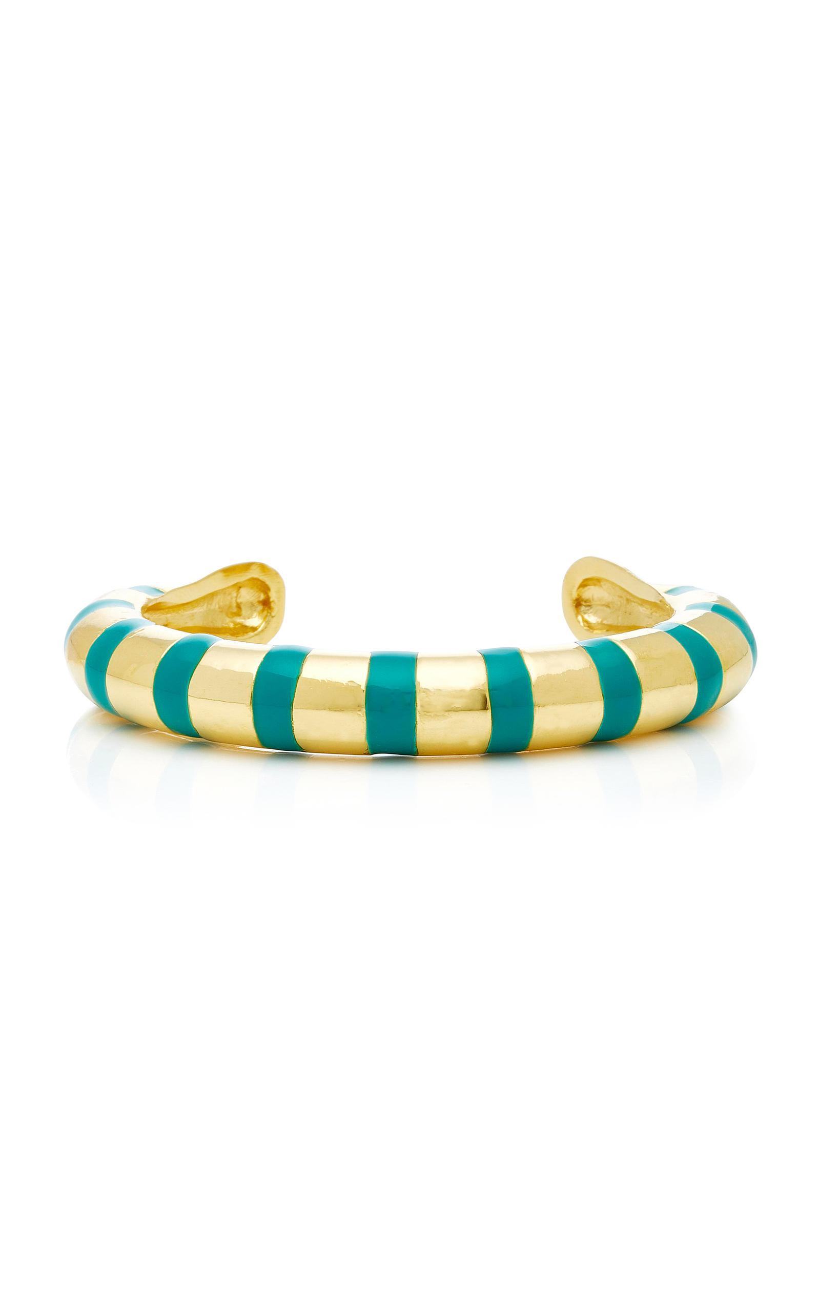 Aurélie Bidermann Maria Bracelet With Green Enamel in Green Enamel and 18K Gold-Plated Brass LABNQgo3t9
