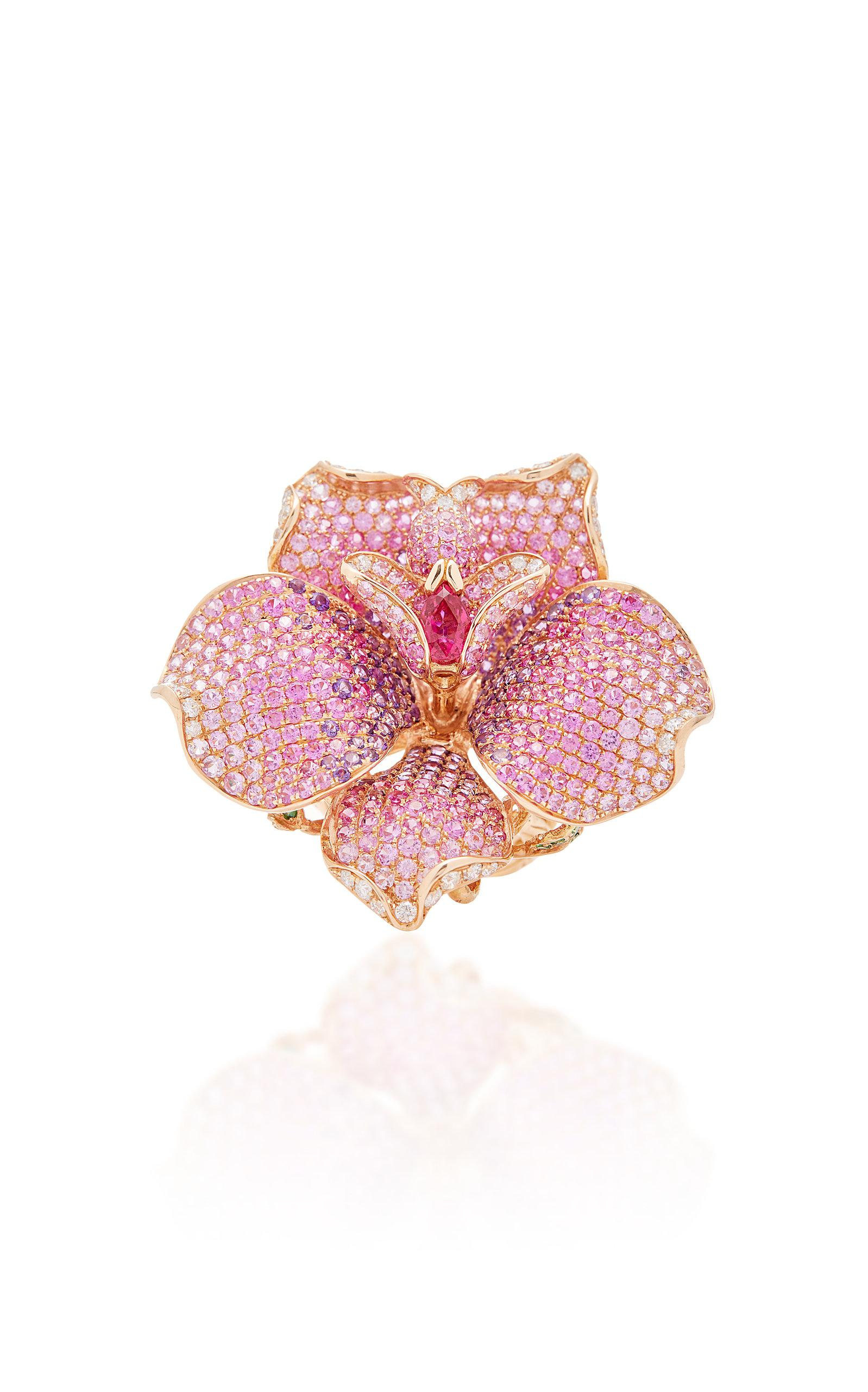 Lyst Wendy Yue Sapphire Flower Ring In Pink