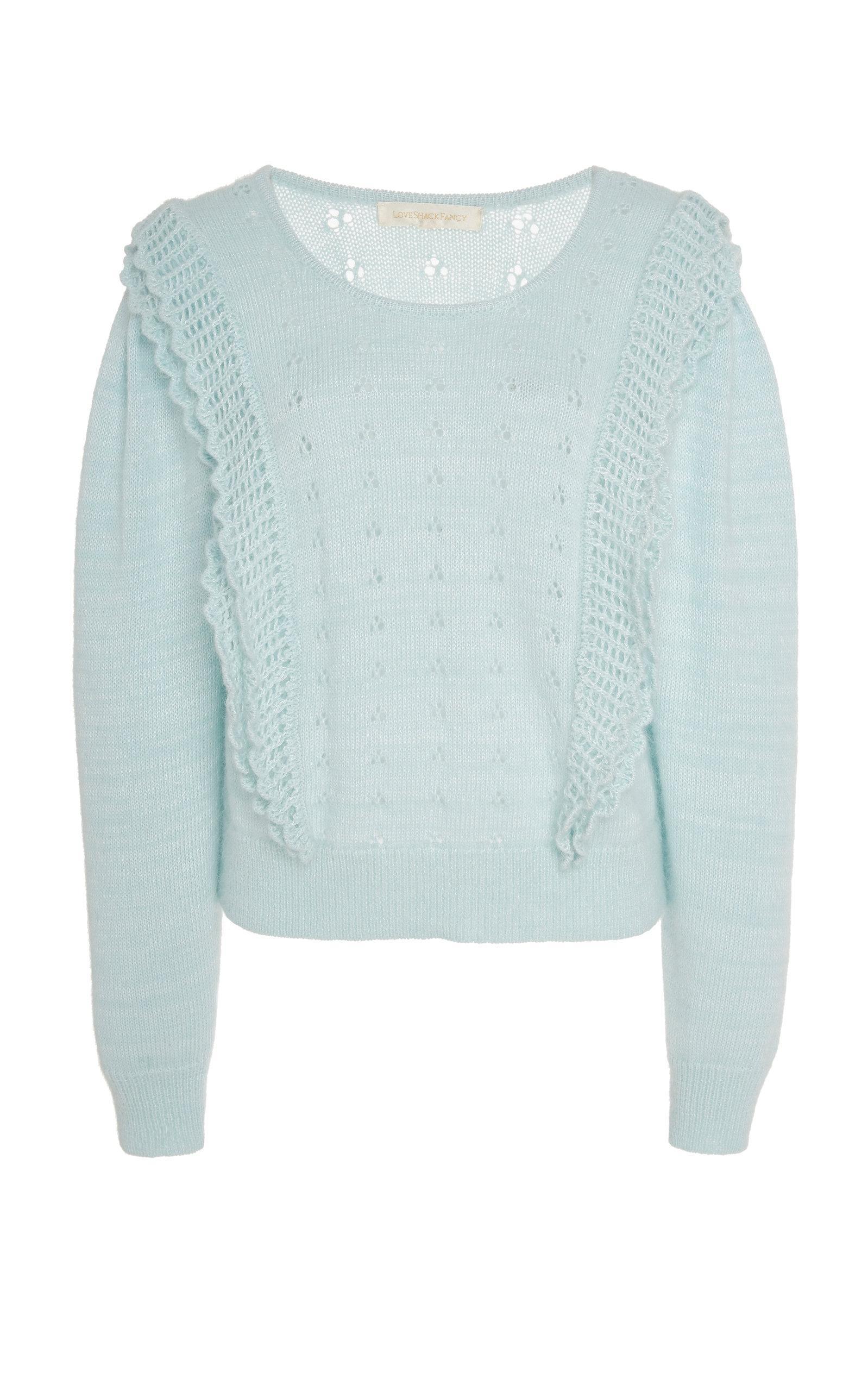 1d0ba235745 Lyst - LoveShackFancy Jasmine Ruffled Eyelet Knit Sweater in Blue