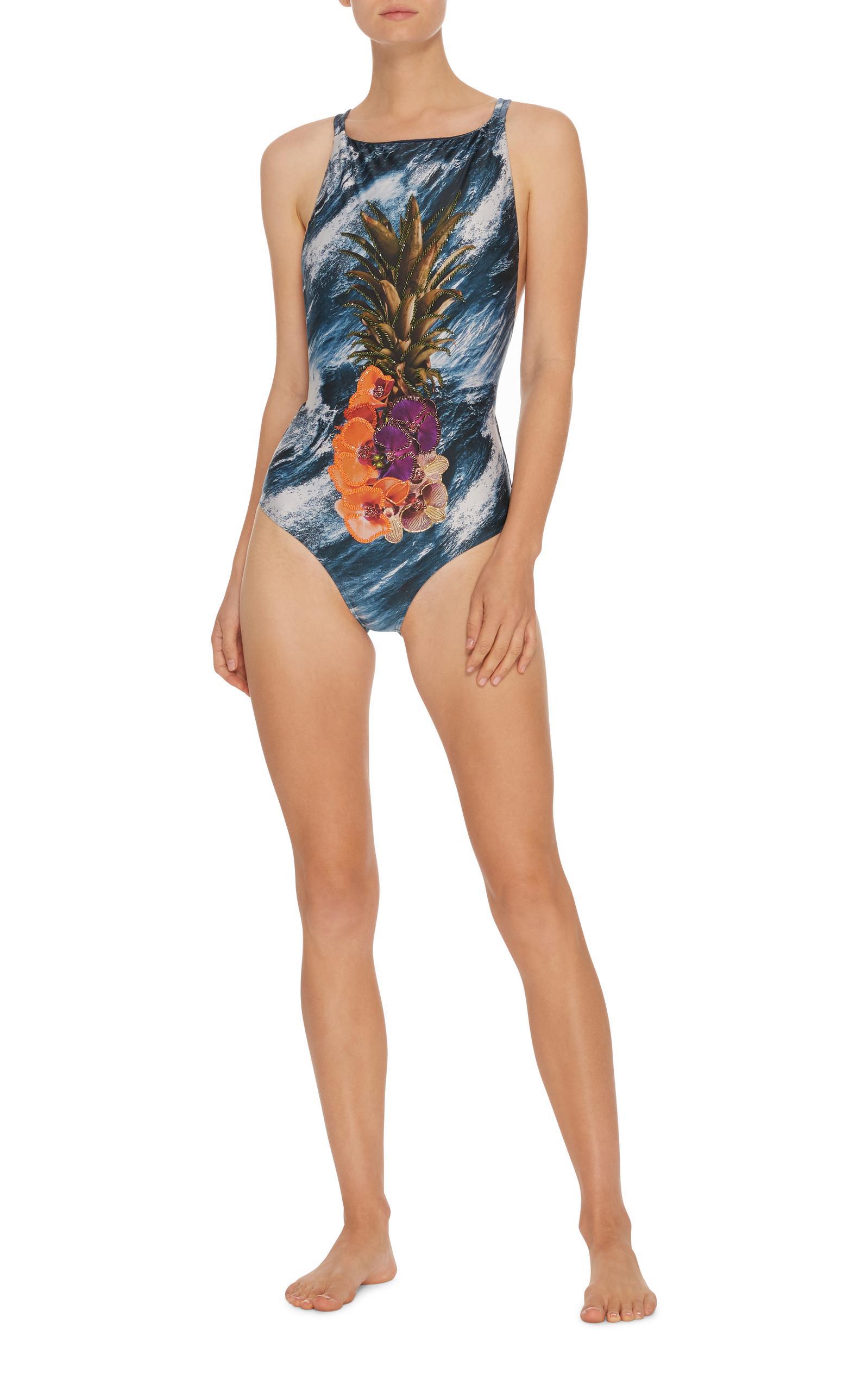 Bon Marché À Vendre Água de Coco Jasmin Embroidered One Piece Swimsuit Qualité Originale classique Amazon De Sortie Prix Incroyable mxgKgUkN7o